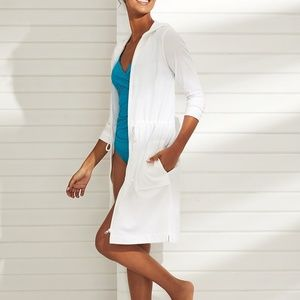 LANDS END white cotton COVER-UP Pockets  FULL ZIP